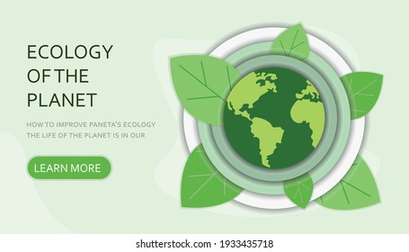 People care about the ecology of the planet. Cleaning, landscaping and watering. Protect nature and ecology banner. Happy earth day modern graphic design poster. Site illustration.