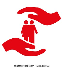 People Care Hands vector icon. Flat red symbol. Pictogram is isolated on a white background. Designed for web and software interfaces.