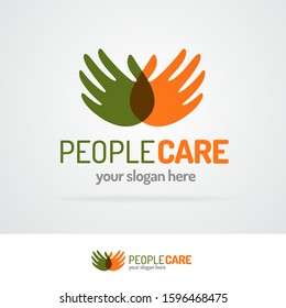 People care logo with hands for business sign, protection, voluntary and philanthropy organization, medical company, healthy firm. Vector 10 eps