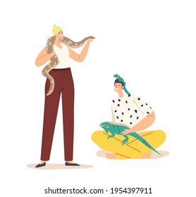 People Care of Tropical Animals Concept. Male Female Characters with Exotic Pets Lizard and Snake. Human and Wild Creatures Varan and Python Isolated on White Background. Cartoon Vector Illustration