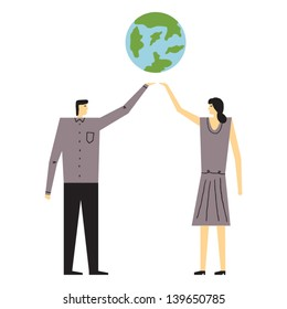 people caring about the planet vector illustration
