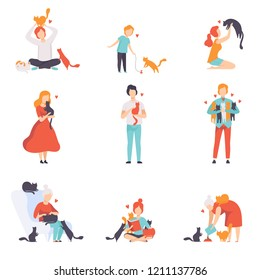 People caring, feeding and playing with their cats set, adorable pets and their owners vector Illustration on a white background
