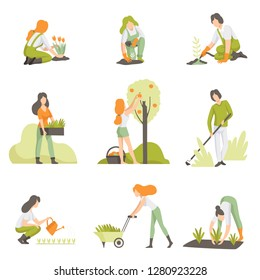 People caring for plants in the garden set, men and women growing agricultural products vector Illustration