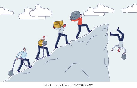 People carry burden to mountain cliff edge and fall down. Financial crisis, problem and bankruptcy concept. Business failure responsibility. Cartoon linear vector illustration