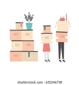 People carrying cardboard boxes. Apartment moving, packing, transportation, new dwelling, housewarming design concept. Cat sitting in a box. Hand drawn cartoon vector illustration