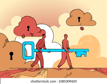 People carrying the password key for cloud system