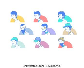 People cartoon avatar collection illustration with half circle background vector isolated