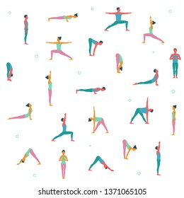 People cartoon character demonstrating various yoga positions on white background. Yoga pattern, vector illustration.