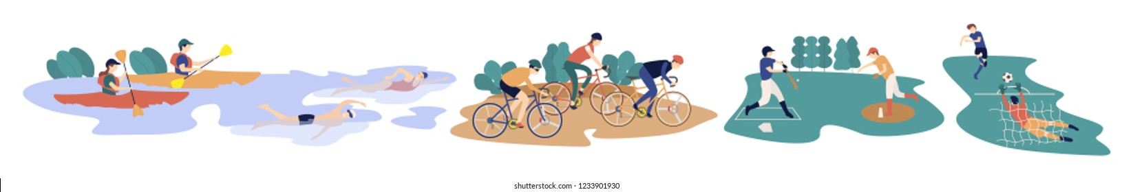 People cartoon enjoying sports outdoors,outdoor activities and spring sports set,riding bikes,swimming,kayaking or canoeing,baseball with home runs,shoot ball with goal,flat style,vector illustration.