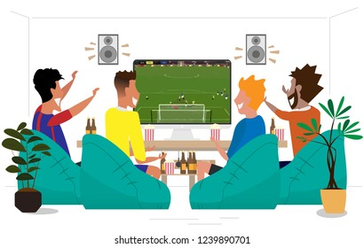 People cartoon watching live soccer with home theater,football themed parties featuring delicious food and smiling faces watching the game on TV,flat style,vector illustration.