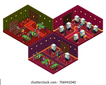 People in casino isometric concept with visitors playing card games roulette slot machines and drinking cocktails vector illustration