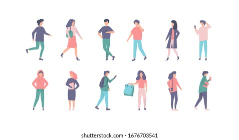 People in casual clothes vector illustration set. Cartoon man woman character in stylish clothing outfit, young person standing, walking, moving on city street. Active flat people isolated on white