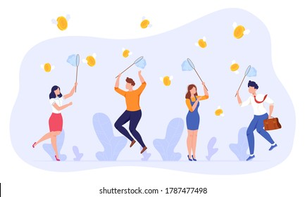 People catch money vector illustration. Cartoon flat employee group characters holding nets, businessman businesswoman jumping, catching flying money coins, success business concept isolated on white