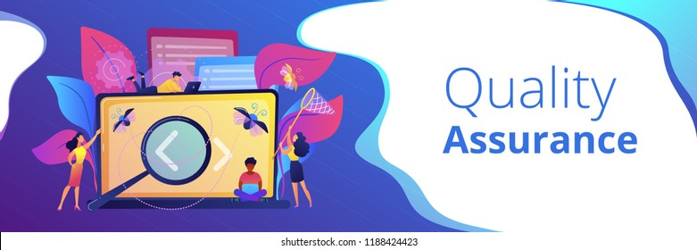 People catching bugs on the laptop screen with angle brackets. IT software application testing, quality assurance, QA team and bug fixing concept. Violet palette. Header or footer banner template.