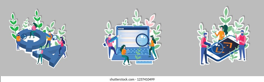 People catching bugs on the laptop, mobile screen, quality assurance stickers, team work,  Big QA letters. Online testing, IT software application testing, quality assurance. Vector illustration.