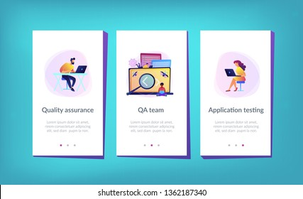 People catching bugs on the laptop screen with angle brackets. IT software application testing, quality assurance, QA team and bug fixing concept. Violet palette. Mobile UI UX app interface template.