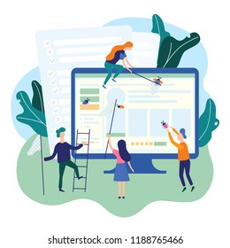 People catching bugs on the web page. IT software application testing, quality assurance, QA team and bug fixing concept. Vector illustration in cartoon and flat style
