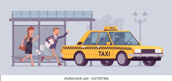 People catching a yellow taxi cab. Man and woman, late passengers running from bus stop in a hurry to get a car, wave or call for taxicab with great haste. Vector flat style cartoon illustration