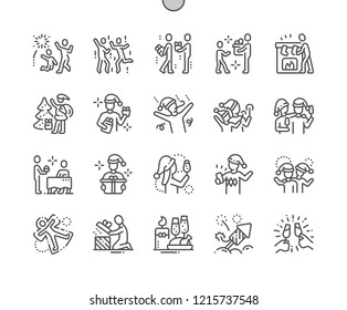 People celebrate Christmas Well-crafted Pixel Perfect Vector Thin Line Icons 30 2x Grid for Web Graphics and Apps. Simple Minimal Pictogram