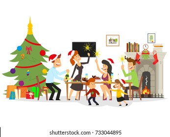 people celebrate the new year. vector illustration