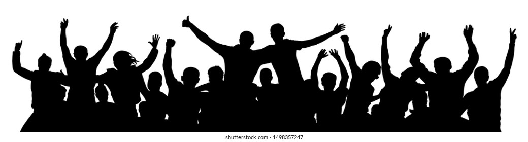 People celebrate silhouette. Crowd cheer. Friends background