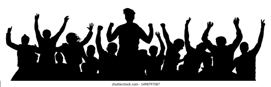 People celebrate silhouette. Crowd cheer. Friends background on a white background