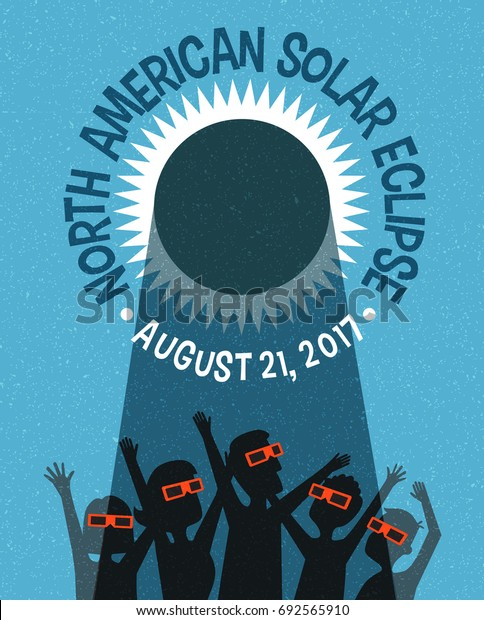 people celebrate watching the solar eclipse with protective glasses. Web banner, card or poster. Retro style vector illustration.