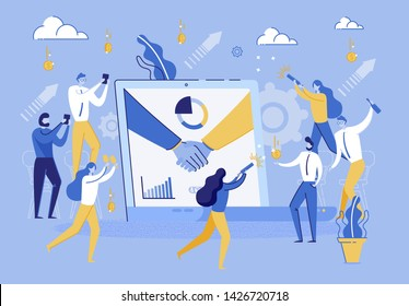 People Celebrates Signing Successful Contract. Group Man and Woman Rejoice in Lucrative Financial Contract Between Companies. Man Handshake on Laptop Screen. Employee Business Company. Corporate Party