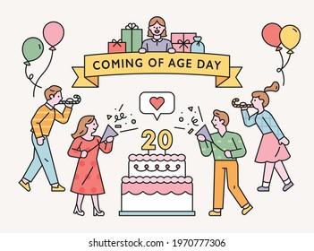People are celebrating around a giant cake. flat design style minimal vector illustration.