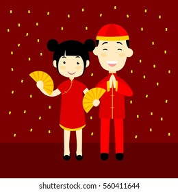 People celebrating Chinese new year in China wearing red clothes
