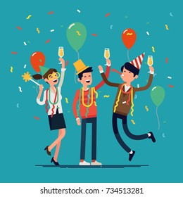 People celebrating. Cool vector flat character design on New Year or Birthday party with male and female characters having fun and having a toast