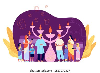 People celebrating diwali. Celebration person with candle, ethnic cultural light festival. Indian family hold fire, festive vector character