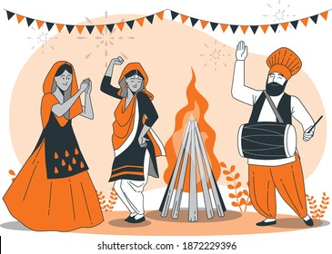People celebrating Lohri festival illustration vector