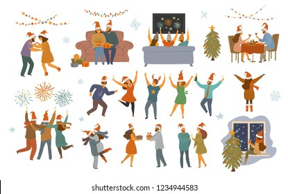 people celebrating merry Christmas and happy new year night, isolated  cartoon vector illustration graphic scenes set