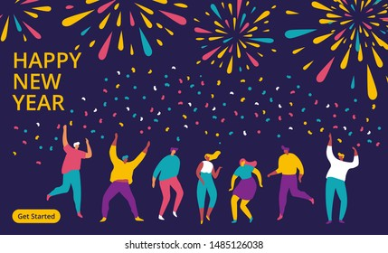 People celebrating new year, dancing  and watching firework explosions in the sky at night. Flat vector illustration.