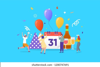 People celebrating new year or happy birthday party vector concept illustration can use for, landing page, template, ui, web, mobile app, poster, banner, flyer