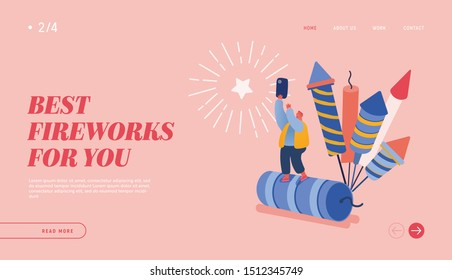 People celebrating New Year or Happy Birthday Party for web design, banner, mobile app, landing page. Man Character watching explosion of firework rockets, celebrating. Vector illustration