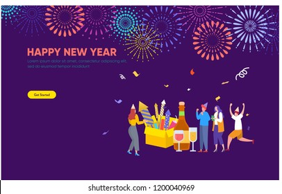 People celebrating new year and watching firework explosions in the sky at night vector concept illustration can use for, landing page, template, ui, web, mobile app, poster, banner, flyer