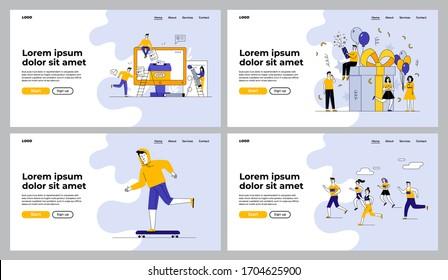 People celebrating and voting online set. Girls and guys running marathon, skateboarding. Flat vector illustrations. Election, event, activity concept for banner, website design or landing web page