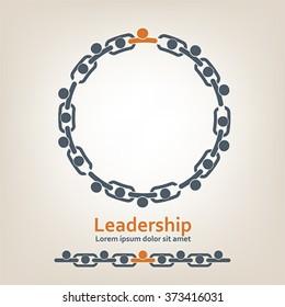 People in chain. Leadership, vector
