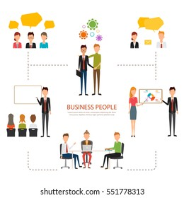 People character of business man and business woman infographic. Flat design vector.