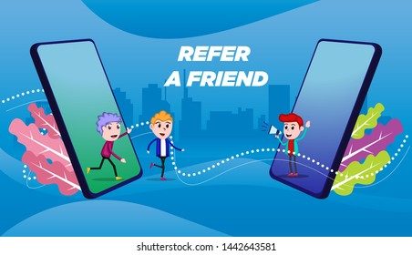 people character shout on megaphone for affiliate. refer a friend concept marketing. sharing referral business partnership, earn money. use for web landing page, banner, print media, social media