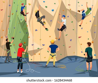 People character in sportswear with rope training on climbing rock wall. Extreme sportsmen and sportswomen. Tough and healthy discipline. Adventure park. Vector cartoon flat illustration