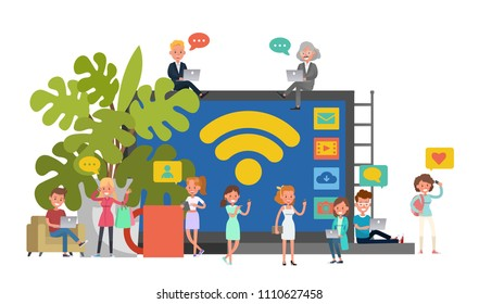 People character vector design. Public Wi-Fi zone wireless connection concept. no2