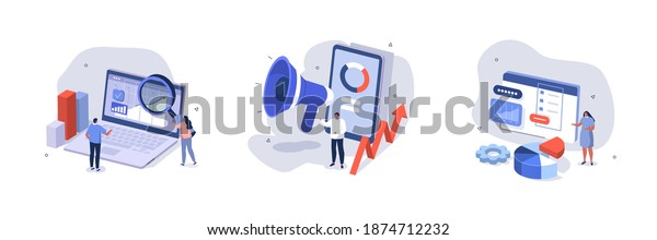 People Characters Analyzing Charts, Graphs, Planning Business Strategy and Managing Data on Laptop and Smartphone. Business Intelligence and Analysis Concept. Flat Isometric Vector Illustration Set.