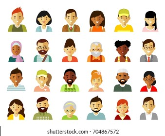 People characters avatars set. Different ethnic smiling multicultural persons icons. Vector illustration in flat style isolated on white background