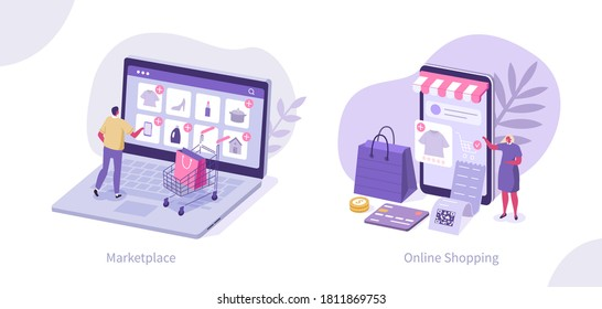 People Characters Buying Goods Online on Internet Marketplaces. Female and Male Buying Online in Mobile App. Mobile Shopping and Retail Concept. Flat Isometric Vector Illustration.