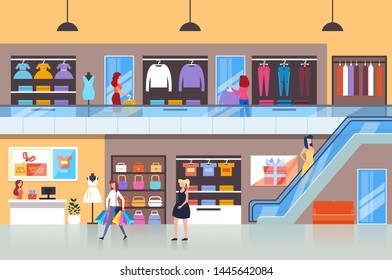 People characters consumers making purchases in shopping mall. Vector flat cartoon graphic design isolated illustration