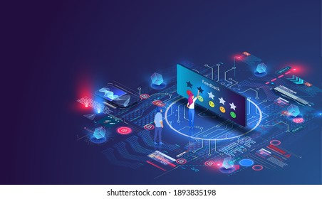People characters giving five star Feedback. Customer feedback page, leave your opinion, user experience. Client choosing satisfaction rating and leaving positive Review. Isometric Vector Illustration
