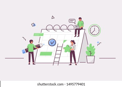 People characters planning schedule with calendar. Man and woman persons manage and organize their work and time. Business plan and time management concept. Flat cartoon vector illustration.\n